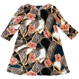 MSK Petite 3/4 Sleeve 3 Ring Multi Print Dress